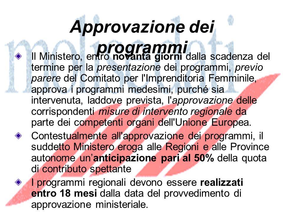 Approvazione dei programmi Il Ministero, entro novanta giorni dalla scadenza del termine per la presentazione dei programmi, previo parere del Comitato per l Imprenditoria Femminile, approva i programmi medesimi, purché sia intervenuta, laddove prevista, l approvazione delle corrispondenti misure di intervento regionale da parte dei competenti organi dell Unione Europea.