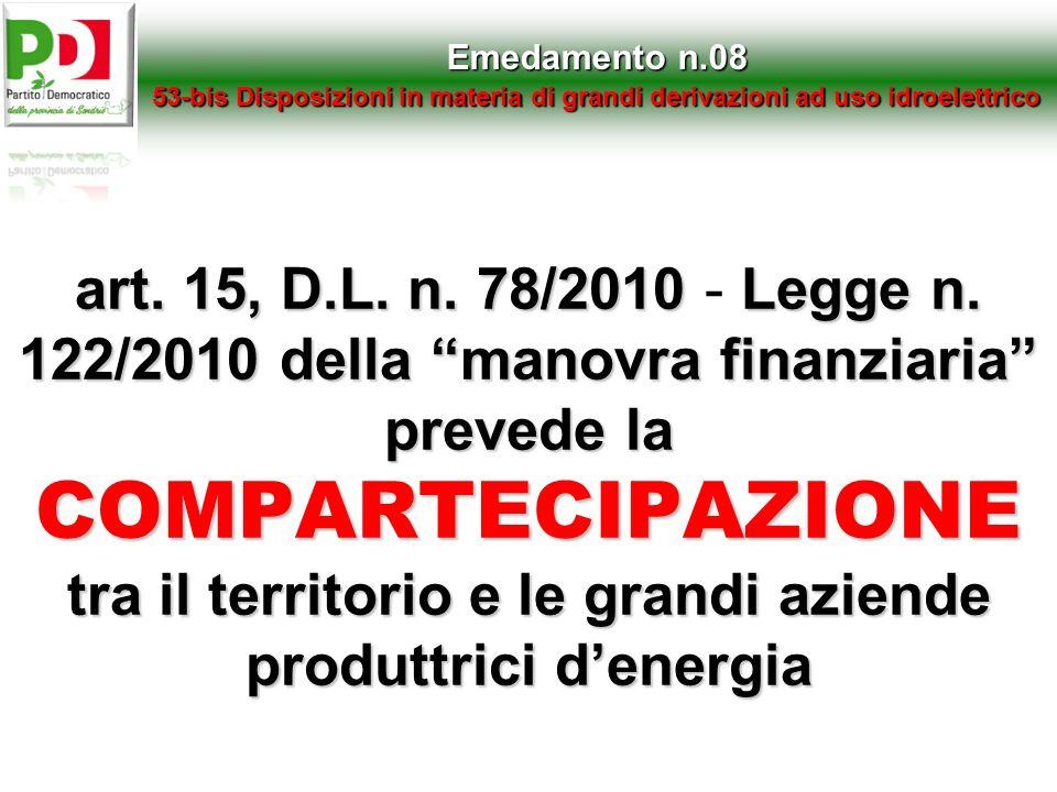 art. 15,D.L. n. 78/2010Legge n. 122/2010 della manovra finanziaria prevede la COMPARTECIPAZIONE tra il territorio e le grandi aziende produttrici dene