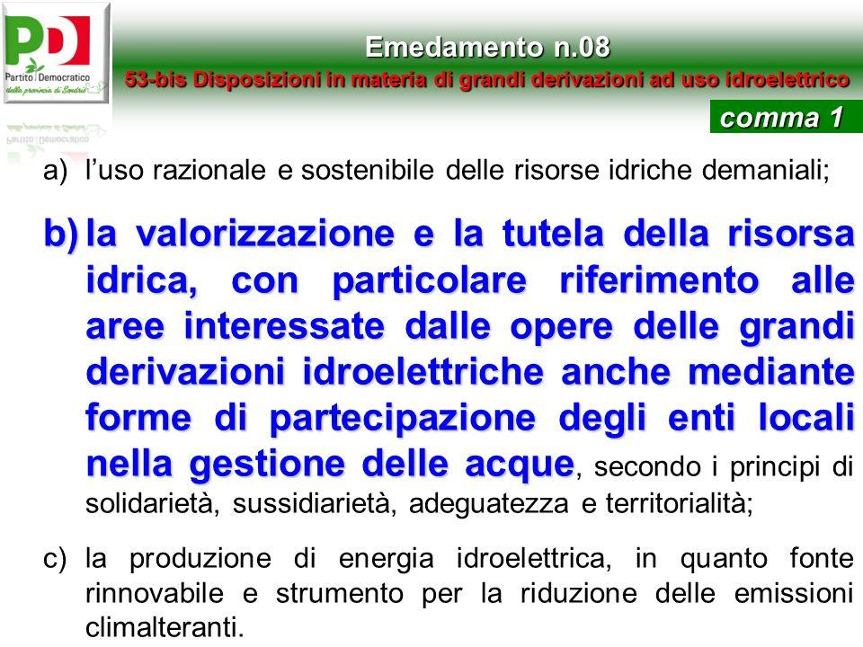 Emedamento n.08 53-bis Disposizioni in materia di grandi derivazioni ad uso idroelettrico a)luso razionale e sostenibile delle risorse idriche demania