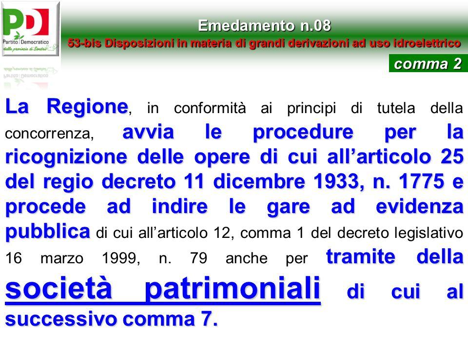 Emedamento n.08 53-bis Disposizioni in materia di grandi derivazioni ad uso idroelettrico La Regione avvia le procedure per la ricognizione delle oper