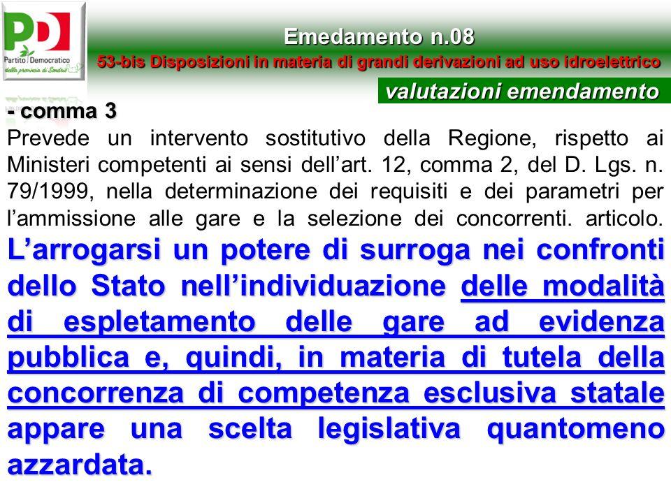 Emedamento n.08 53-bis Disposizioni in materia di grandi derivazioni ad uso idroelettrico - comma 3 Larrogarsi un potere di surroga nei confronti dell