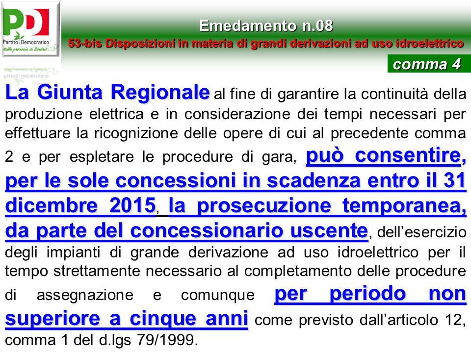 Emedamento n.08 53-bis Disposizioni in materia di grandi derivazioni ad uso idroelettrico La Giunta Regionale può consentire, per le sole concessioni