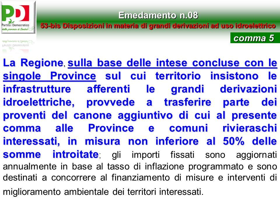 Emedamento n.08 53-bis Disposizioni in materia di grandi derivazioni ad uso idroelettrico La Regione, sulla base delle intese concluse con le singole