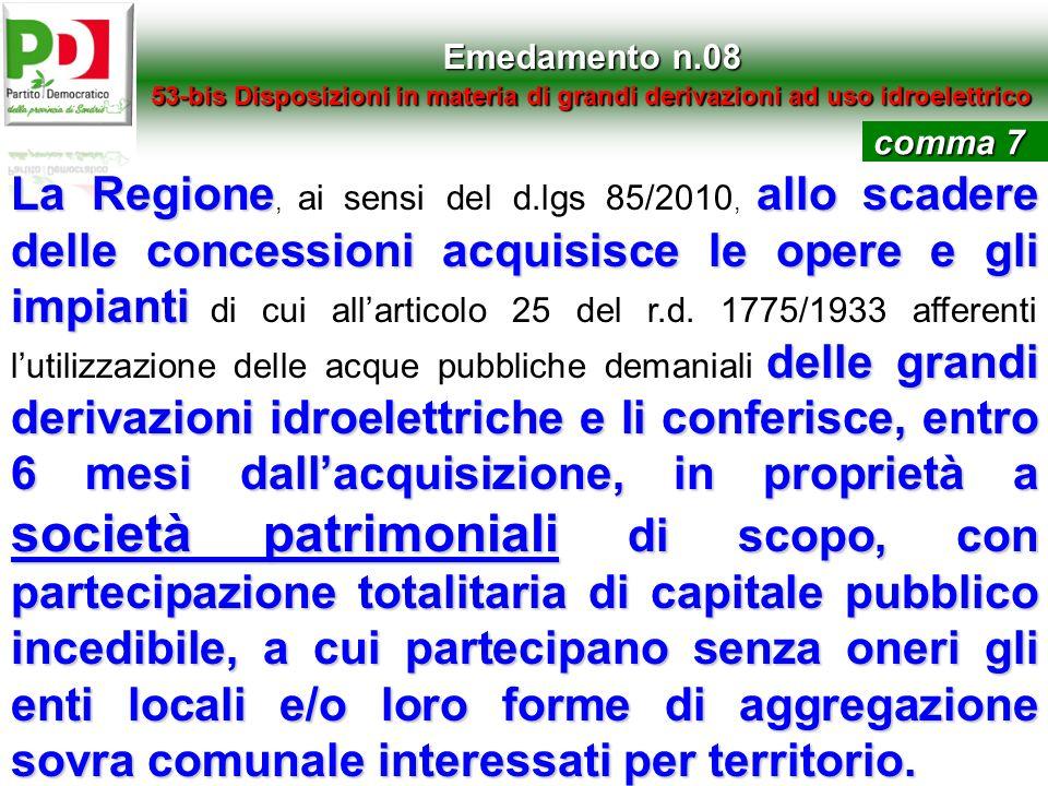 Emedamento n.08 53-bis Disposizioni in materia di grandi derivazioni ad uso idroelettrico La Regioneallo scadere delle concessioni acquisisce le opere