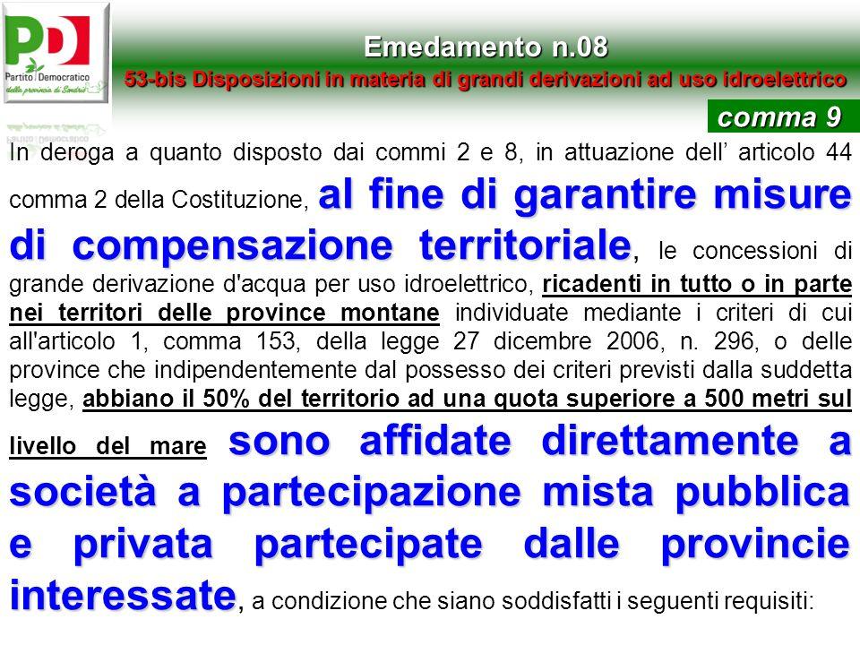 Emedamento n.08 53-bis Disposizioni in materia di grandi derivazioni ad uso idroelettrico al fine di garantire misure di compensazione territoriale so
