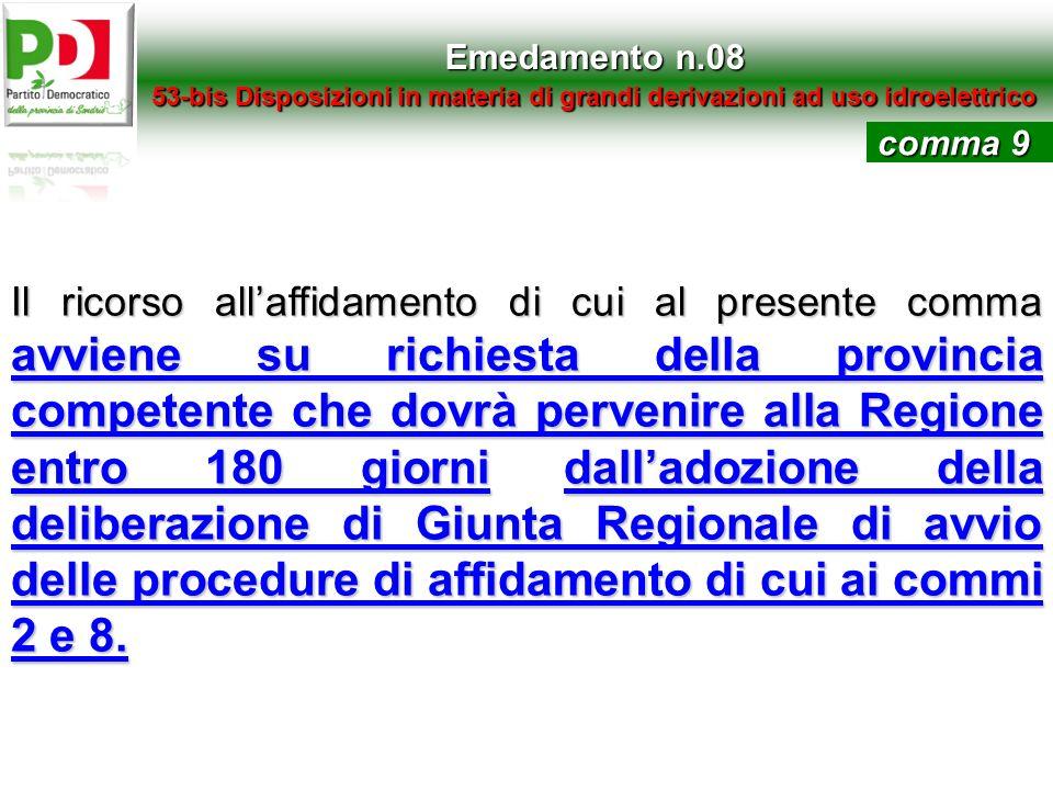 Emedamento n.08 53-bis Disposizioni in materia di grandi derivazioni ad uso idroelettrico Il ricorso allaffidamento di cui al presente comma avviene s
