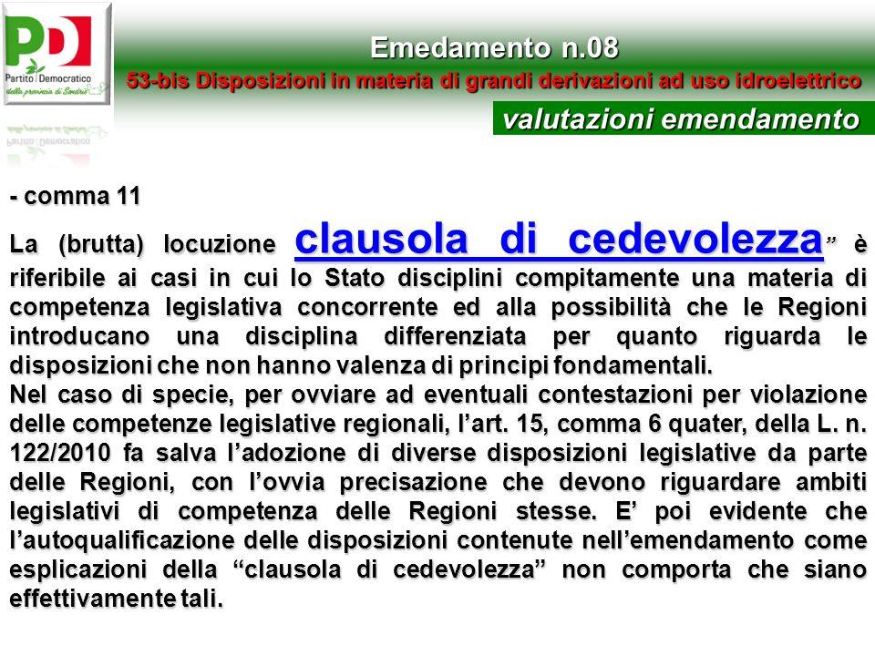 Emedamento n.08 53-bis Disposizioni in materia di grandi derivazioni ad uso idroelettrico - comma 11 La (brutta) locuzione clausola di cedevolezza è r