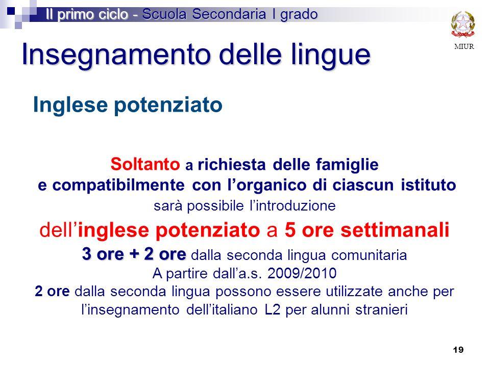 Inglese potenziato Insegnamento delle lingue MIUR Il primo ciclo - Scuola Secondaria I grado Soltanto a richiesta delle famiglie e compatibilmente con
