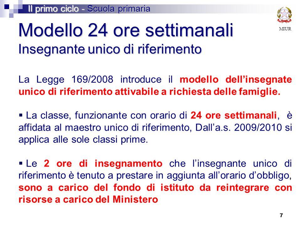 7 Modello 24 ore settimanali Insegnante unico di riferimento La Legge 169/2008 introduce il modello dellinsegnate unico di riferimento attivabile a ri