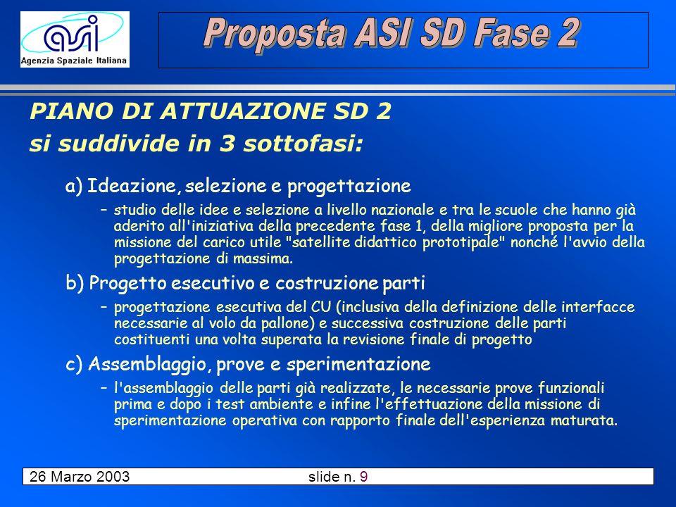 26 Marzo 2003 slide n. 10 Pianificazione delle attività complessive