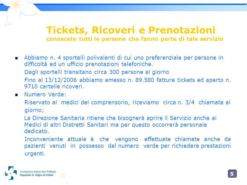 5 Tickets, Ricoveri e Prenotazioni conoscete tutti le persone che fanno parte di tale servizio Abbiamo n.
