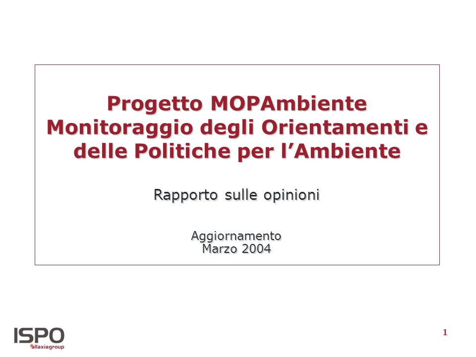 1 Progetto MOPAmbiente Monitoraggio degli Orientamenti e delle Politiche per lAmbiente Rapporto sulle opinioni Aggiornamento Marzo 2004