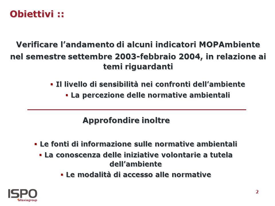 2 Obiettivi :: Verificare landamento di alcuni indicatori MOPAmbiente nel semestre settembre 2003-febbraio 2004, in relazione ai temi riguardanti Il l