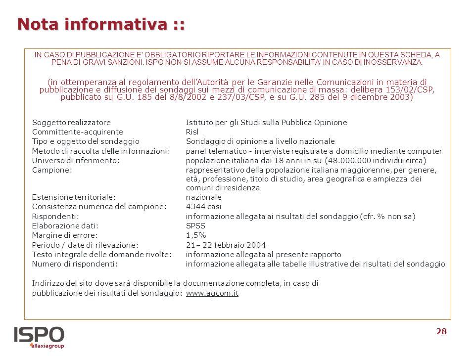 28 Nota informativa :: IN CASO DI PUBBLICAZIONE E' OBBLIGATORIO RIPORTARE LE INFORMAZIONI CONTENUTE IN QUESTA SCHEDA, A PENA DI GRAVI SANZIONI. ISPO N
