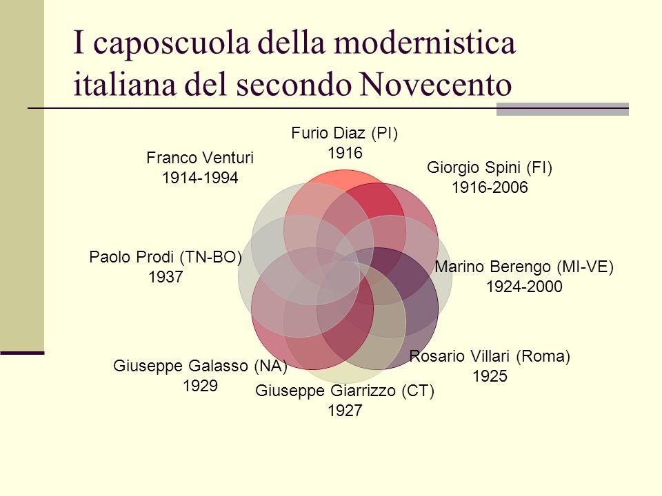 I caposcuola della modernistica italiana del secondo Novecento Furio Diaz (PI) 1916 Giorgio Spini (FI) 1916-2006 Marino Berengo (MI-VE) 1924-2000 Rosa