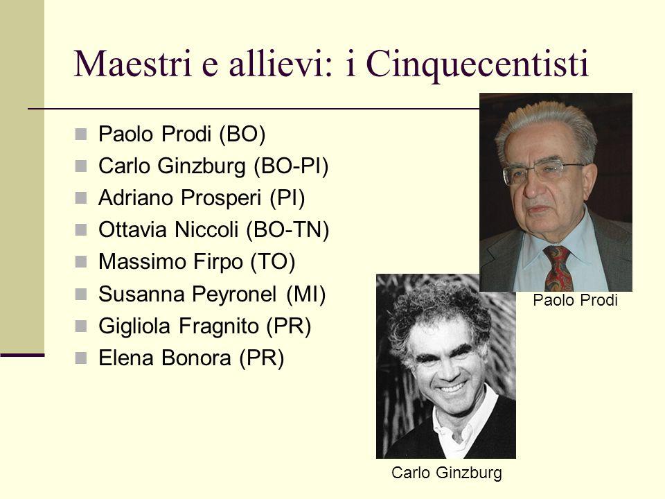 Maestri e allievi: i Cinquecentisti Paolo Prodi (BO) Carlo Ginzburg (BO-PI) Adriano Prosperi (PI) Ottavia Niccoli (BO-TN) Massimo Firpo (TO) Susanna P
