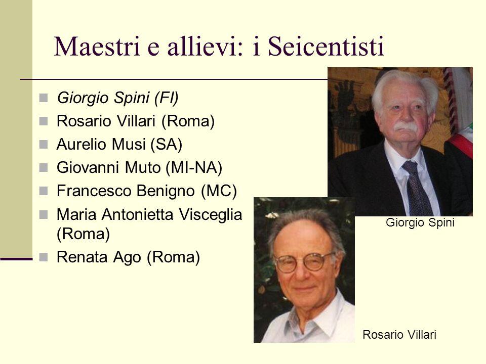 Maestri e allievi: i Seicentisti Giorgio Spini (FI) Rosario Villari (Roma) Aurelio Musi (SA) Giovanni Muto (MI-NA) Francesco Benigno (MC) Maria Antoni