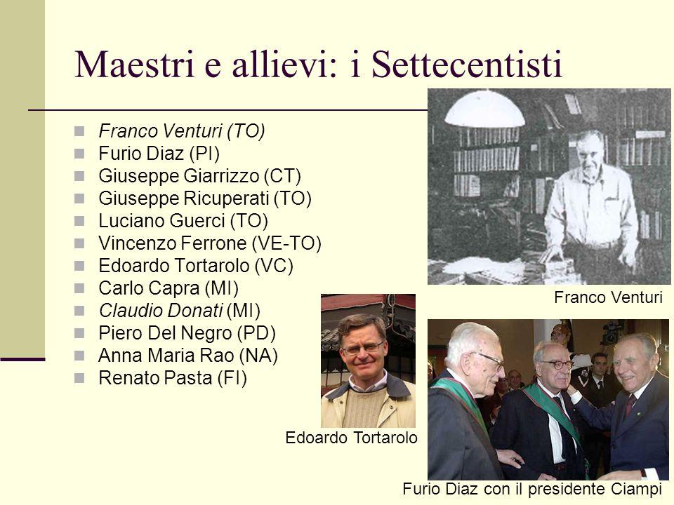 Maestri e allievi: i Settecentisti Franco Venturi (TO) Furio Diaz (PI) Giuseppe Giarrizzo (CT) Giuseppe Ricuperati (TO) Luciano Guerci (TO) Vincenzo F