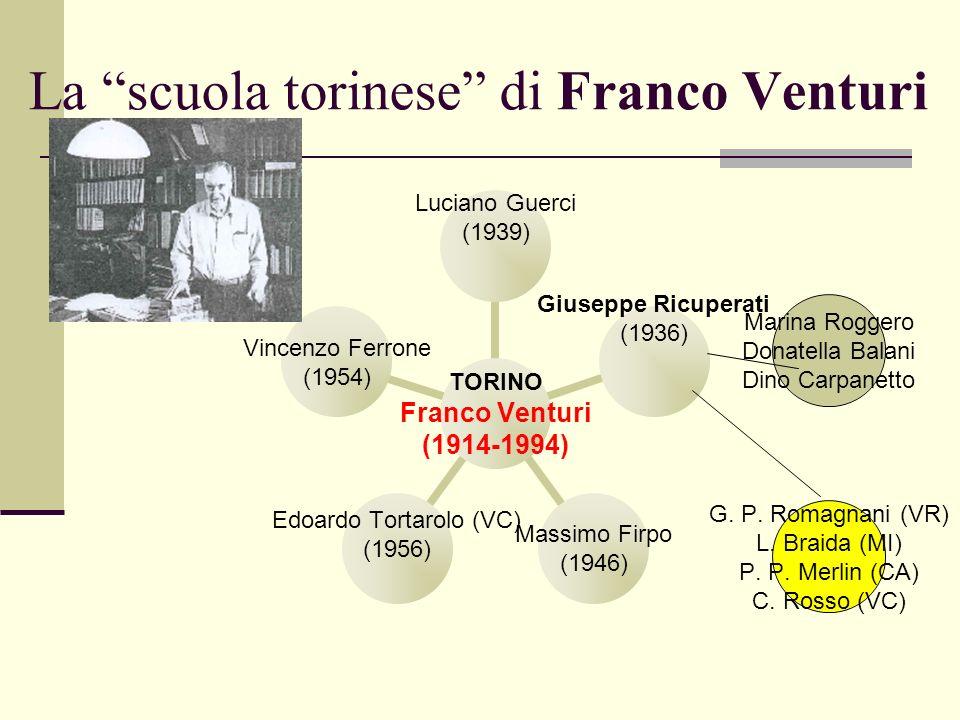 La scuola torinese di Franco Venturi Marina Roggero Donatella Balani Dino Carpanetto G. P. Romagnani (VR) L. Braida (MI) P. P. Merlin (CA) C. Rosso (V