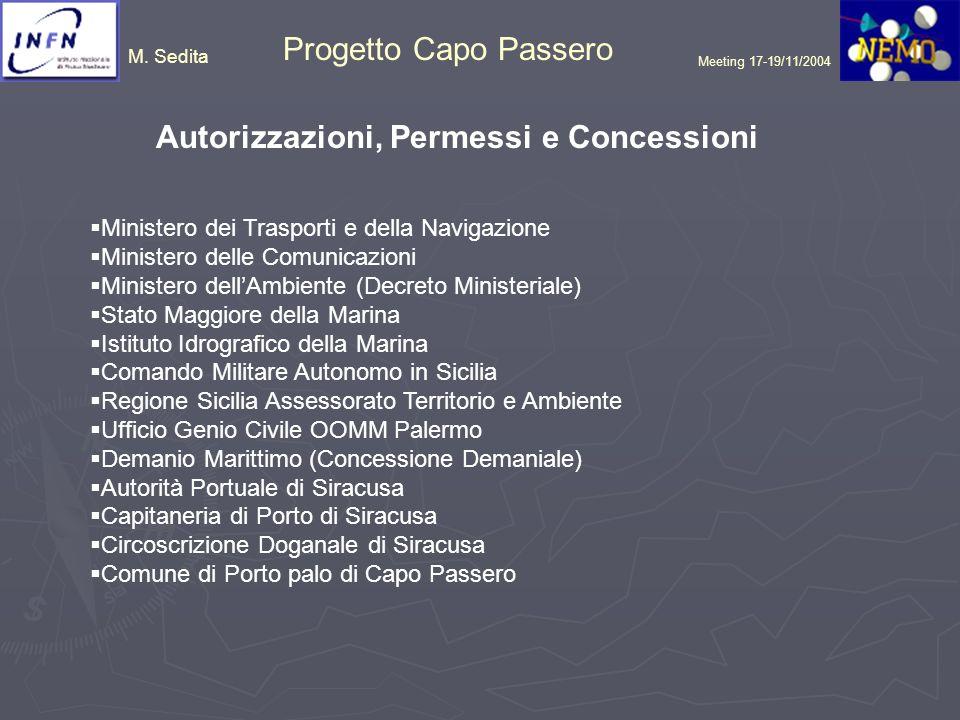 M. Sedita Progetto Capo Passero Meeting 17-19/11/2004 Autorizzazioni, Permessi e Concessioni Ministero dei Trasporti e della Navigazione Ministero del