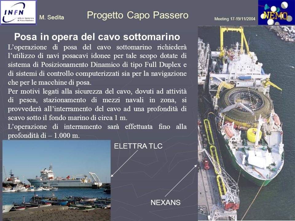 M. Sedita Progetto Capo Passero Meeting 17-19/11/2004 Posa in opera del cavo sottomarino Loperazione di posa del cavo sottomarino richiederà lutilizzo