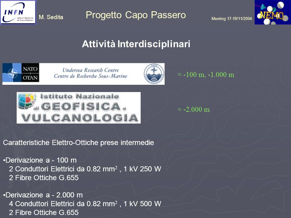M. Sedita Progetto Capo Passero Meeting 17-19/11/2004 Attività Interdisciplinari -100 m, -1.000 m -2.000 m Caratteristiche Elettro-Ottiche prese inter