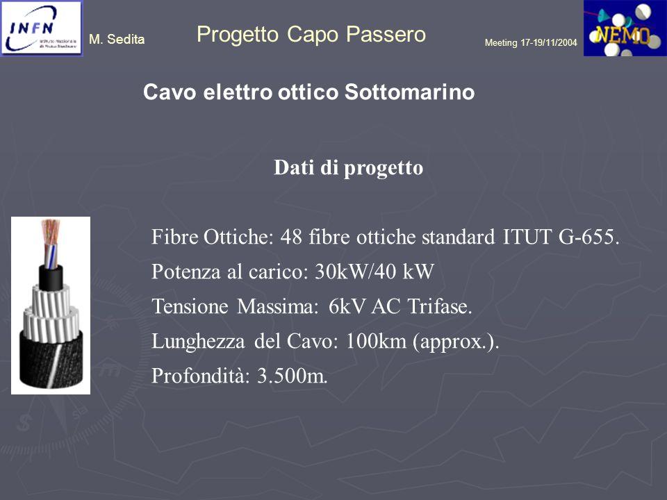 M. Sedita Progetto Capo Passero Meeting 17-19/11/2004 Cavo elettro ottico Sottomarino Dati di progetto Fibre Ottiche: 48 fibre ottiche standard ITUT G