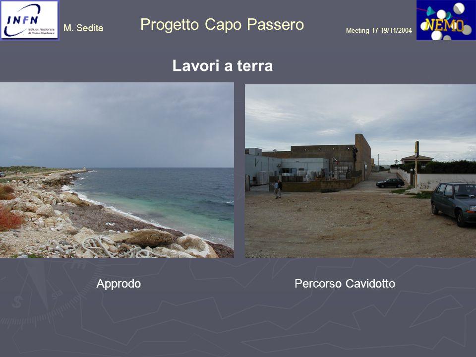 M.Sedita Progetto Capo Passero Meeting 17-19/11/2004 Opere a Terra.