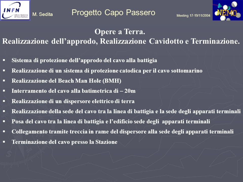 M. Sedita Progetto Capo Passero Meeting 17-19/11/2004 Opere a Terra. Realizzazione dellapprodo, Realizzazione Cavidotto e Terminazione. Sistema di pro