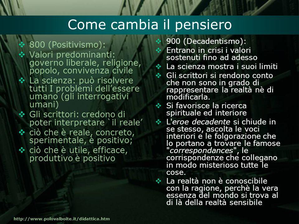 http://www.polovalboite.it/didattica.htm Come cambia il pensiero 800 (Positivismo): Valori predominanti: governo liberale, religione, popolo, conviven