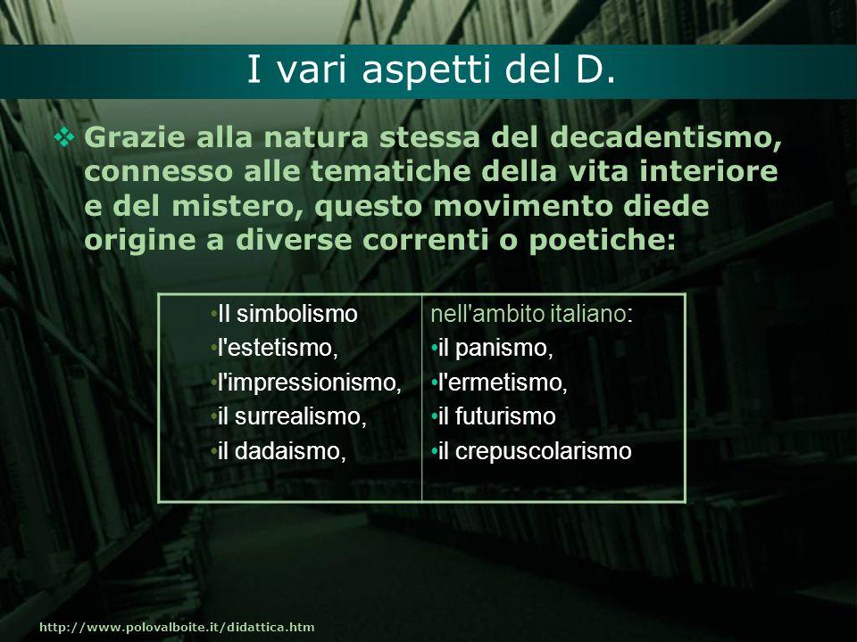 http://www.polovalboite.it/didattica.htm I vari aspetti del D. Grazie alla natura stessa del decadentismo, connesso alle tematiche della vita interior