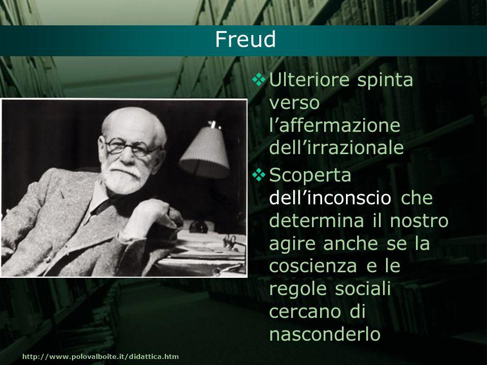 http://www.polovalboite.it/didattica.htm Freud Ulteriore spinta verso laffermazione dellirrazionale Scoperta dellinconscio che determina il nostro agi
