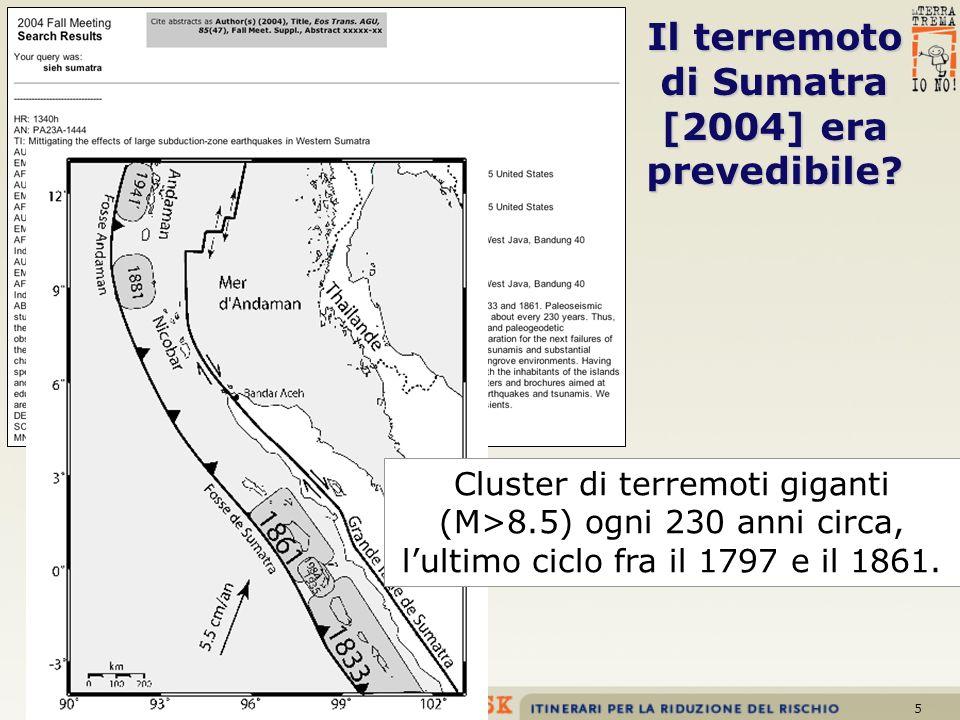 5 Il terremoto di Sumatra [2004] era prevedibile? Cluster di terremoti giganti (M>8.5) ogni 230 anni circa, lultimo ciclo fra il 1797 e il 1861.