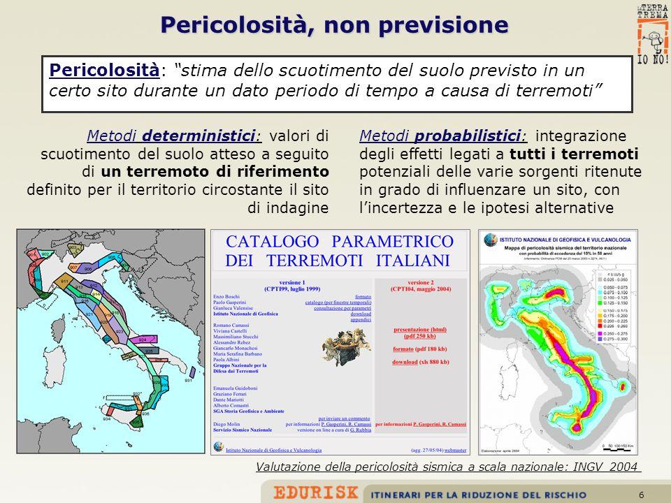 6 Pericolosità: stima dello scuotimento del suolo previsto in un certo sito durante un dato periodo di tempo a causa di terremoti Pericolosità, non pr