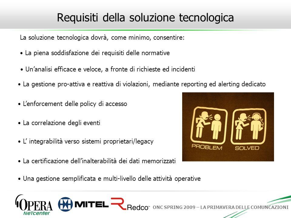 ONC SPRING 2009 – LA PRIMAVERA DELLE COMUNCAZIONI Requisiti della soluzione tecnologica La soluzione tecnologica dovrà, come minimo, consentire: La pi