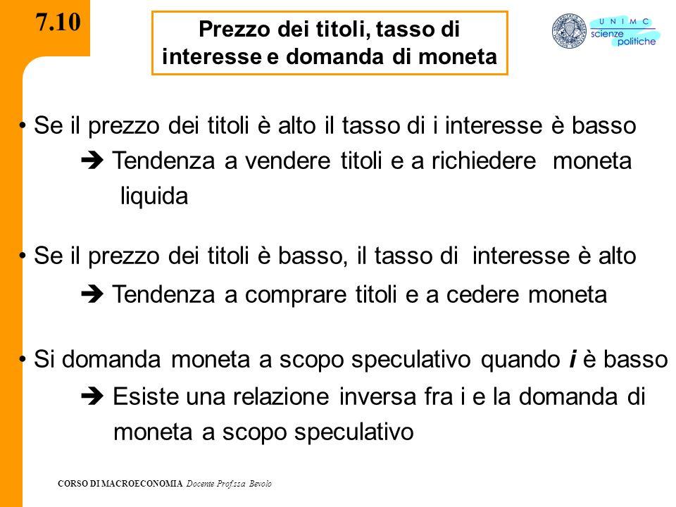 CORSO DI MACROECONOMIA Docente Prof.ssa Bevolo 7.10 Prezzo dei titoli, tasso di interesse e domanda di moneta Se il prezzo dei titoli è alto il tasso