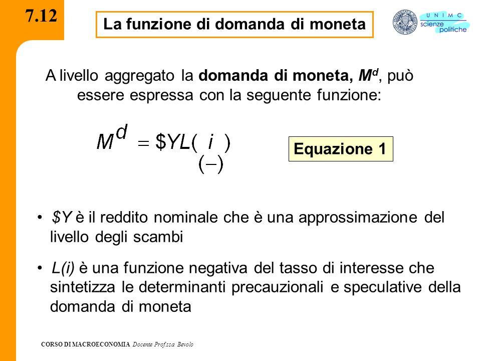 CORSO DI MACROECONOMIA Docente Prof.ssa Bevolo 7.12 La funzione di domanda di moneta A livello aggregato la domanda di moneta, M d, può essere espress