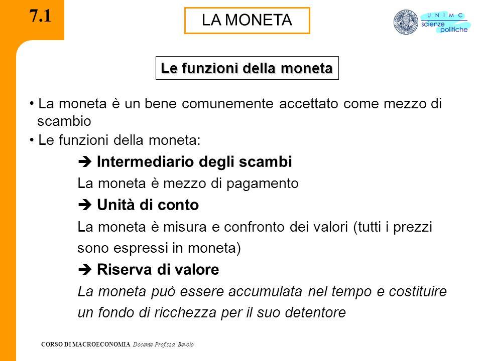 CORSO DI MACROECONOMIA Docente Prof.ssa Bevolo 7.1 LA MONETA La moneta è un bene comunemente accettato come mezzo di scambio Le funzioni della moneta: