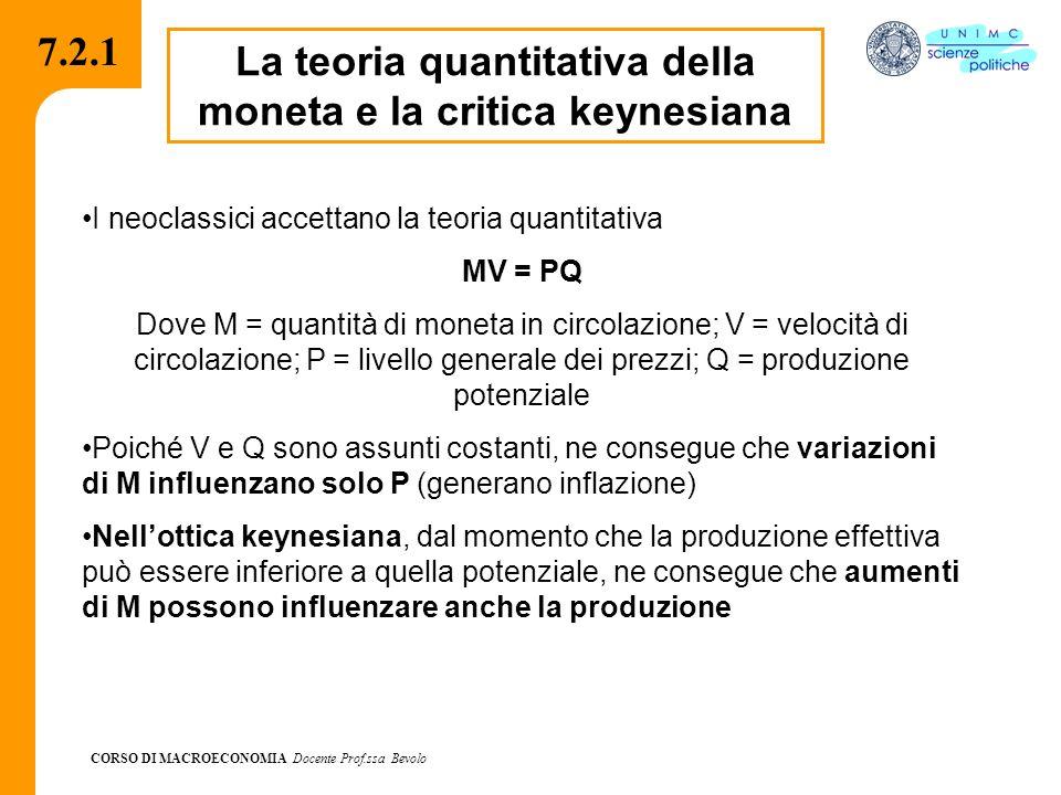 CORSO DI MACROECONOMIA Docente Prof.ssa Bevolo 7.2.1 La teoria quantitativa della moneta e la critica keynesiana I neoclassici accettano la teoria qua