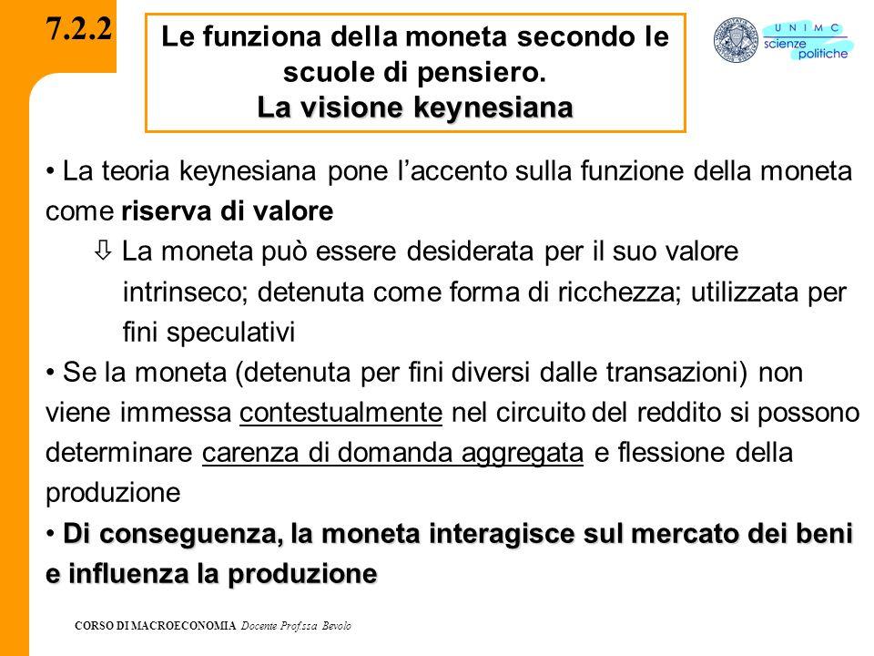 CORSO DI MACROECONOMIA Docente Prof.ssa Bevolo 7.2.2 Le funziona della moneta secondo le scuole di pensiero. La visione keynesiana La teoria keynesian