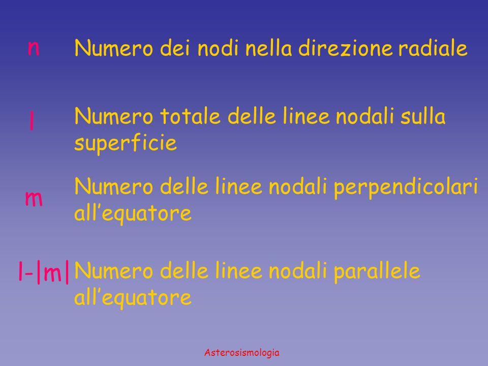 Asterosismologia n l m l-|m| Numero dei nodi nella direzione radiale Numero totale delle linee nodali sulla superficie Numero delle linee nodali perpe