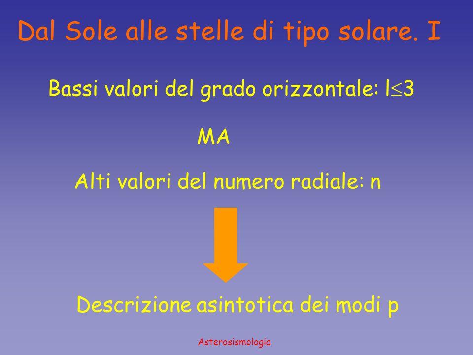 Asterosismologia Dal Sole alle stelle di tipo solare. I Bassi valori del grado orizzontale: l 3 MA Alti valori del numero radiale: n Descrizione asint