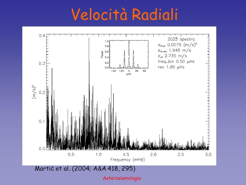 Asterosismologia Brown et al. (1991; ApJ 368, 599) Velocità Radiali Marti ć et al. (2004; A&A 418, 295)