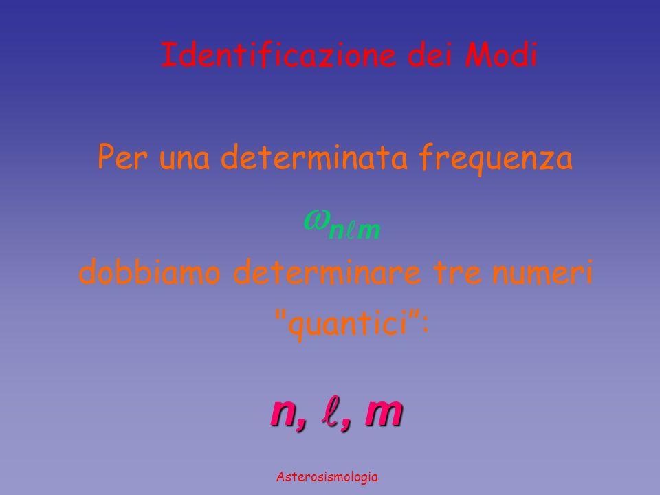 Asterosismologia Identificazione dei Modi n,, m Per una determinata frequenza n m dobbiamo determinare tre numeri
