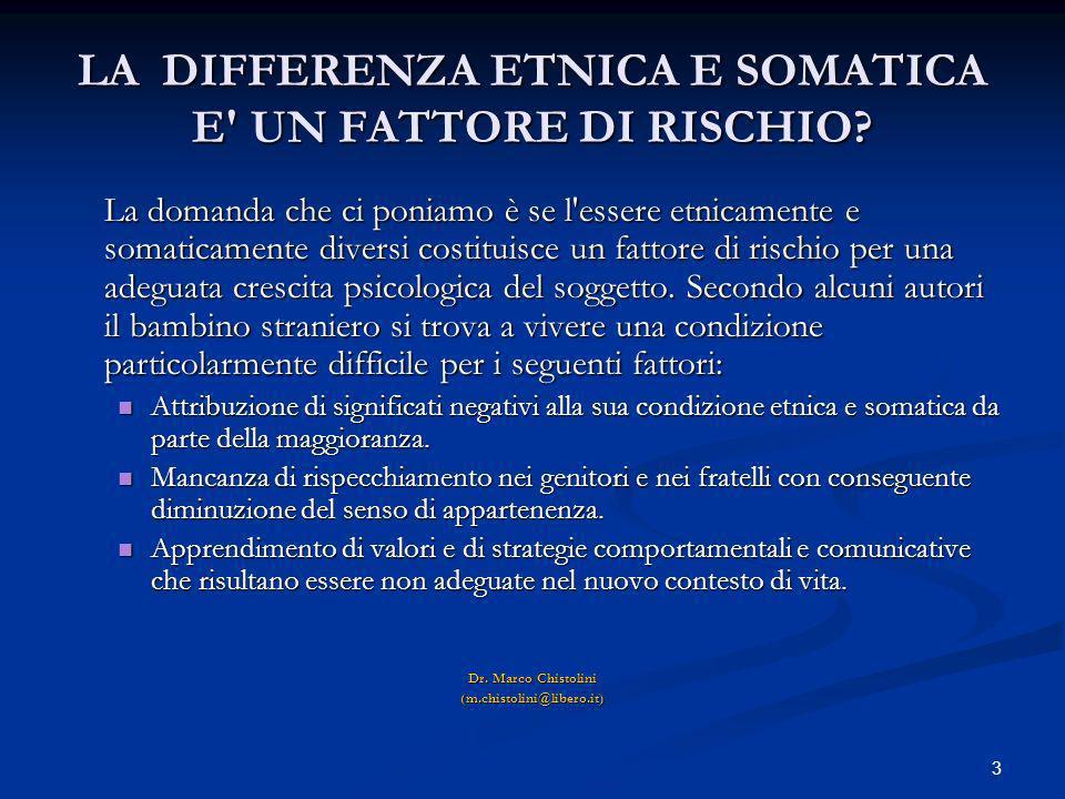 3 LA DIFFERENZA ETNICA E SOMATICA E' UN FATTORE DI RISCHIO? La domanda che ci poniamo è se l'essere etnicamente e somaticamente diversi costituisce un