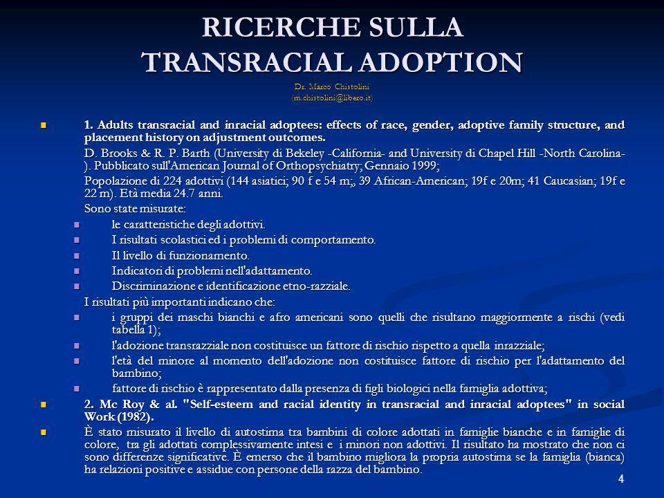 5 RICERCHE SULLA TRANSRACIAL ADOPTION 2 Dr.Marco Chistolini (m.chistolini@libero.it) 4.