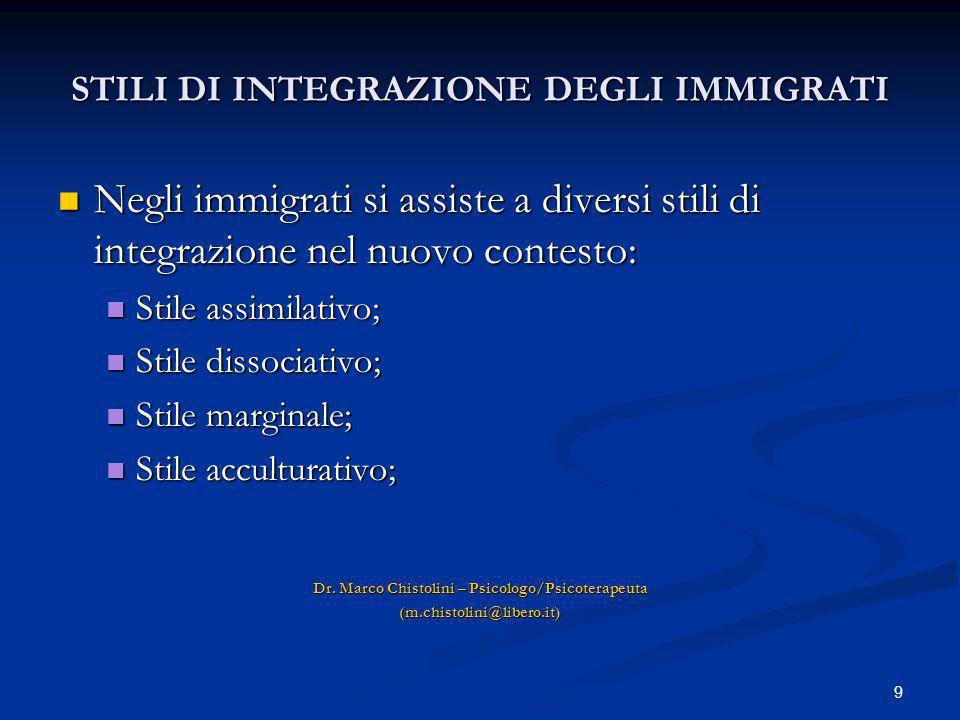 9 STILI DI INTEGRAZIONE DEGLI IMMIGRATI Negli immigrati si assiste a diversi stili di integrazione nel nuovo contesto: Negli immigrati si assiste a di