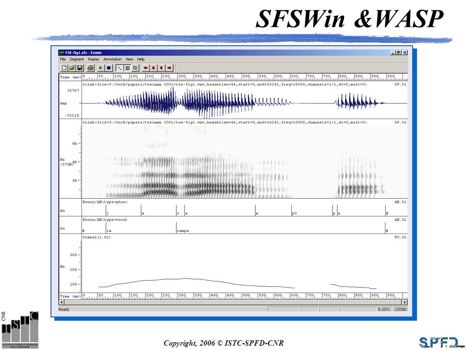 Copyright, 2006 © ISTC-SPFD-CNR SFSWin &WASP