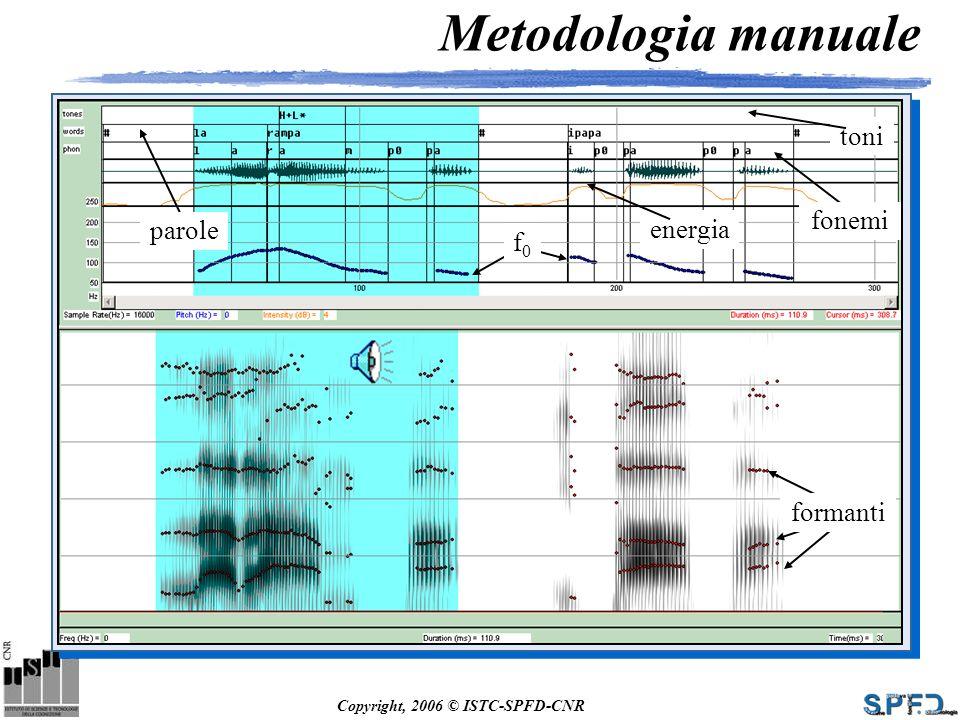 Copyright, 2006 © ISTC-SPFD-CNR Metodologia manuale parole fonemi formanti f0f0 energia toni