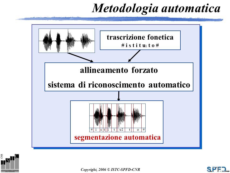 Copyright, 2006 © ISTC-SPFD-CNR Metodologia automatica trascrizione fonetica # i s t i t u 1 t o # allineamento forzato sistema di riconoscimento auto